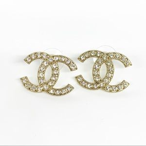 CHANEL Brand New Gold Large CC Crystal Coco Stud